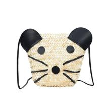 bb49ac535a (Ship from US) 2018 Kids Grass Weaving Panda Crossbody Bag Girls Purse  Messenger Bags Zipper straw bag Handbag For Teen Bolsa Feminina   CC
