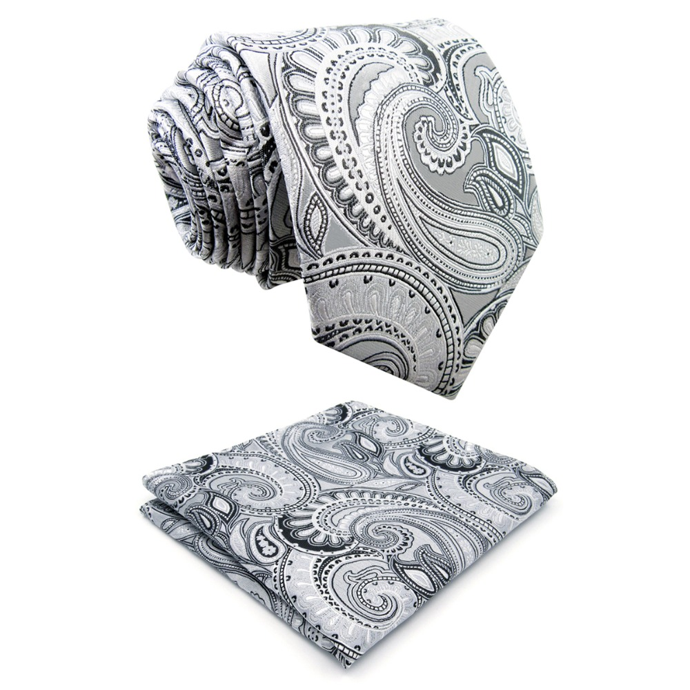 S7 Extra long size Paisley Floral White Light Gray Grey Silver Black Mens Necktie Set 100% Silk Fashion hanky Ties for men 63""
