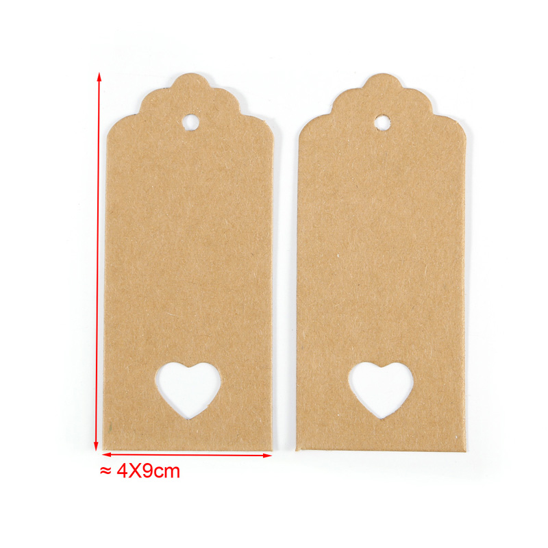 JX-LCLYL 100PCS DIY Vintage Rectangle Kraft Paper Pendant Labels Gift Tags Gift Cards
