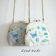 2018 Embroidery Butterfly Women Frame Bag Fresh Plants Kiss Clasp Purse Watercolor Girl Nature Handbag With Diamond Bow Handmade