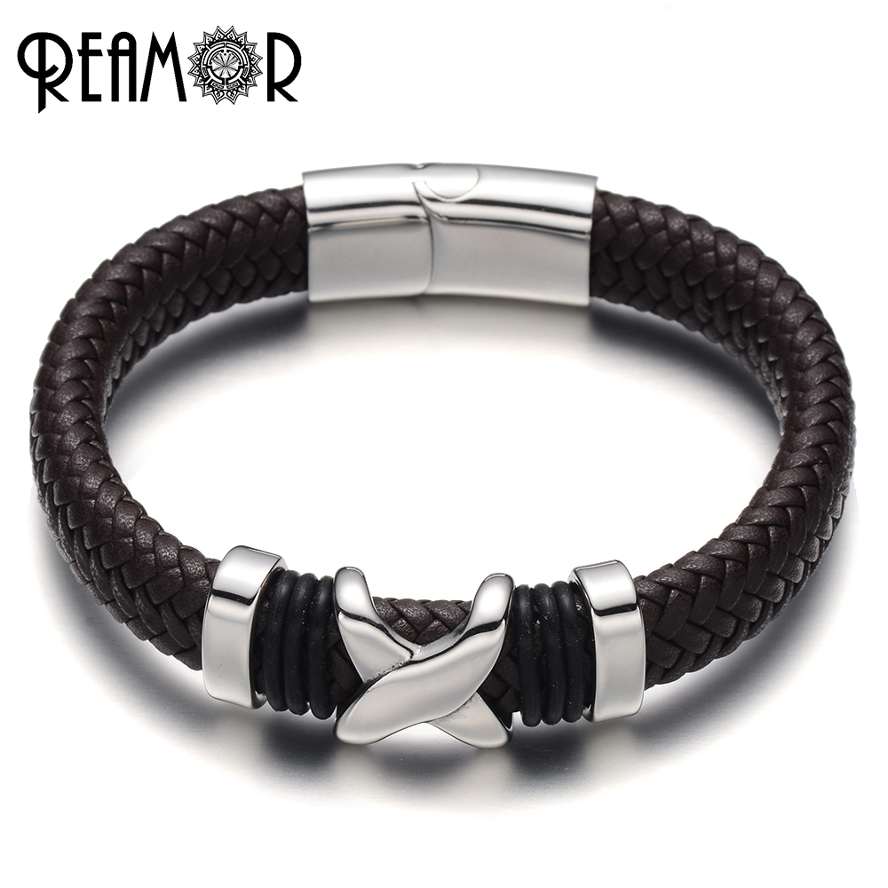REAMOR 316L Stainless Steel Letter X Style Male Charms Bracelet Wide Braided Leather Rope with Magnet Buckle Trendy Bracelets