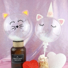 Transparent Balloon Unicorn Cake Topper Horn Happy Birthday Decoration Party Favors Cat Cupcake