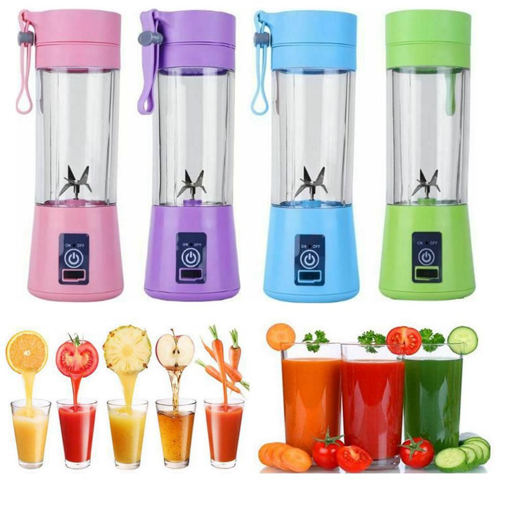 400ML USB Rechargeable Portable Blender Multifunctional Mixing Blender Six Blades Electric Fruit Mixer Juicer Cup Smoothie Maker