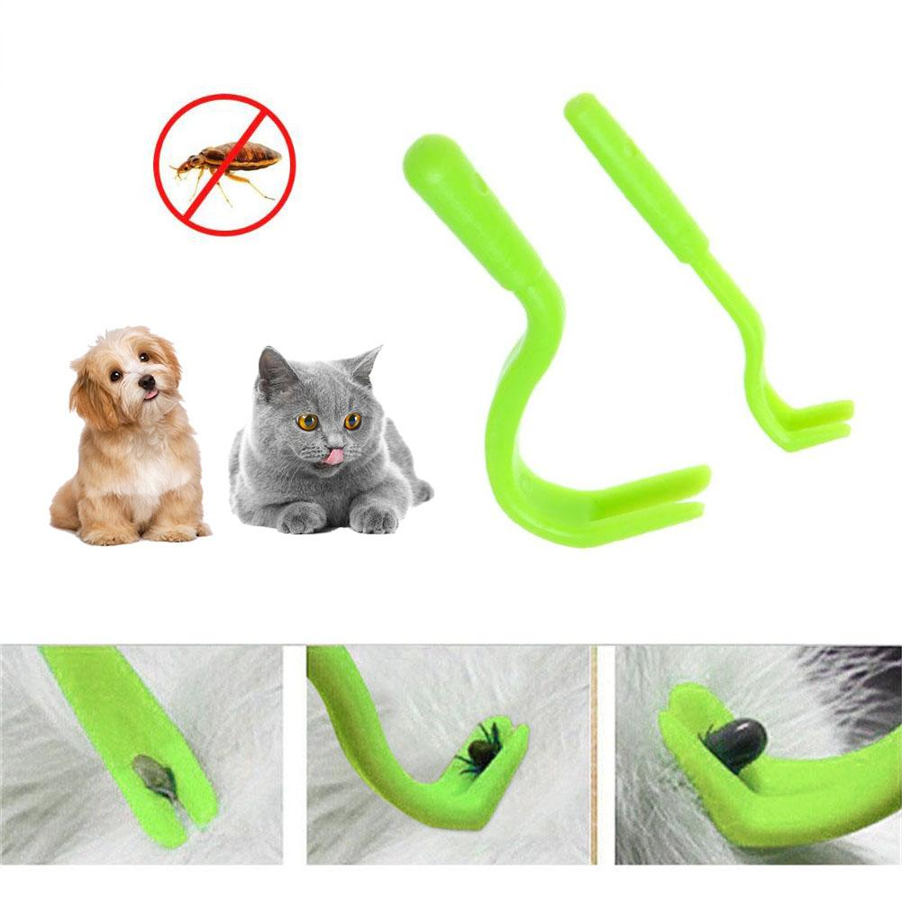 2PCS Pets Tick Removal Tool Dual Teeth Cats Dogs Human Pet Cleaning Supplies Plastic Picker Fleas Comb Wholesale