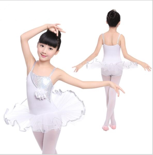 New Sequin White Ballet Dance Tutu Dress Children Kids Flower Strap Dress Girls Dance Leotard Tutu Skirt