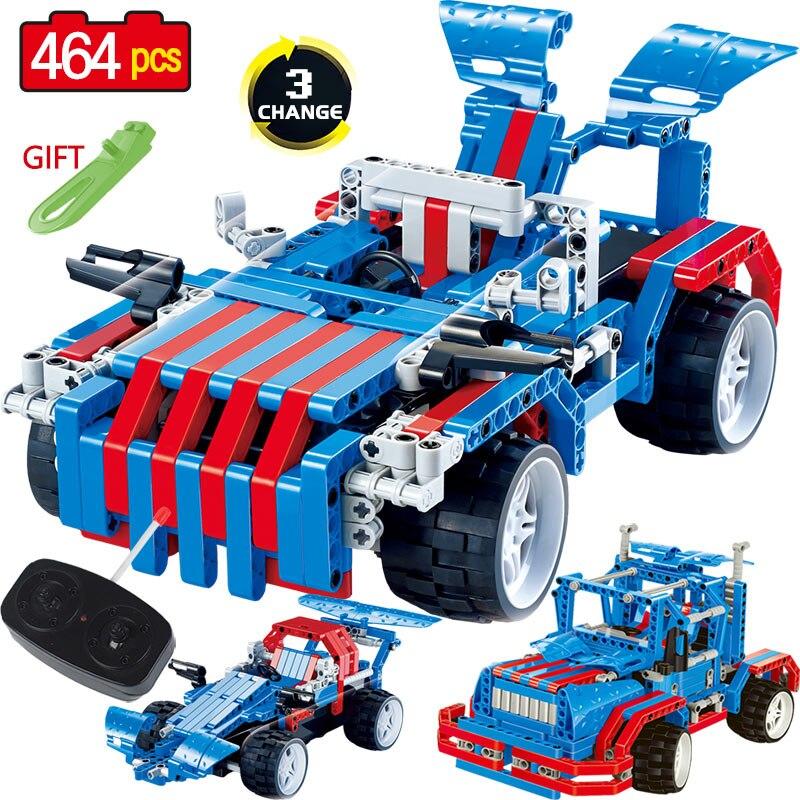 Bricolage RC 3 déformation voiture blocs de construction technique télécommande course voiture briques camion jouets pour garçons cadeau