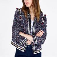 2018 autumn fashion Tweed Blazer Jacket Women Slim Fashion Long Sleeve Elegant o neck Office Lady Blazer