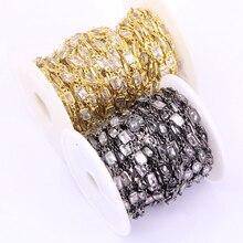 Металлические Проволочные цепочки с фианитами, прямоугольные бусины с граненым кубическим цирконием, 1 м, ювелирные украшения