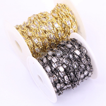 1 Meter ZYZ177 8905 Metal Wire Wrapped Links CZ Chains, Faceted Cubic Zircon Rectangle Beads Rosary Chain Jewelry