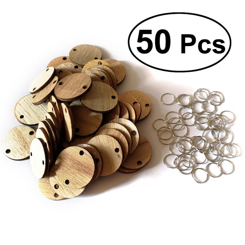Veemoon 50Pcs Tranches de Calendrier en Bois avec 50 Boucles de Fer /Étiquettes de Message de No/ël Calendrier de Rappel Danniversaire Disques Ronds Bricolage Artisanat Ornements D/écor /à