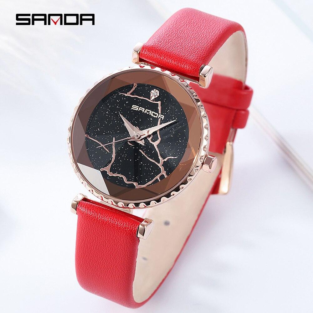 SANDA décontracté dames montre étanche Rose or cuir Quartz montre femmes mode robe montres horloge reloj mujer