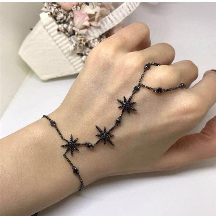 925 sterling silver jewelry zirconia Star charm hand back chain bracelets ADJUSTABLE for women