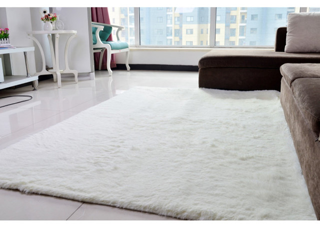 Cream sea blue 200x300cm anti skid soft fluffy shaggy home for Soft carpet for bedrooms