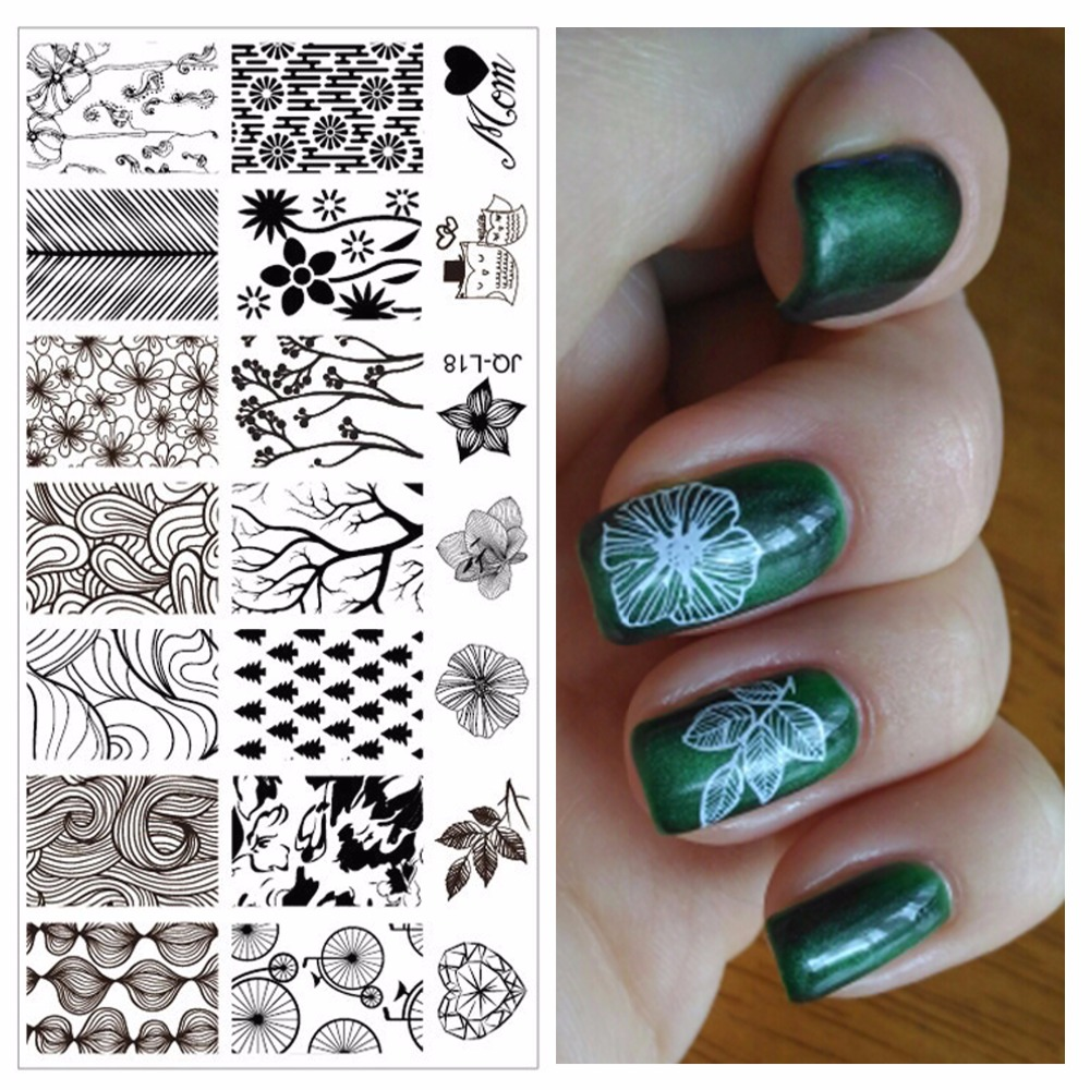 Online get cheap stamping plates flowers and leaves aliexpress yzwle 1pc flowers trees leaves designs professional nail art stamping image plate tools for girl manicure dhlflorist Image collections