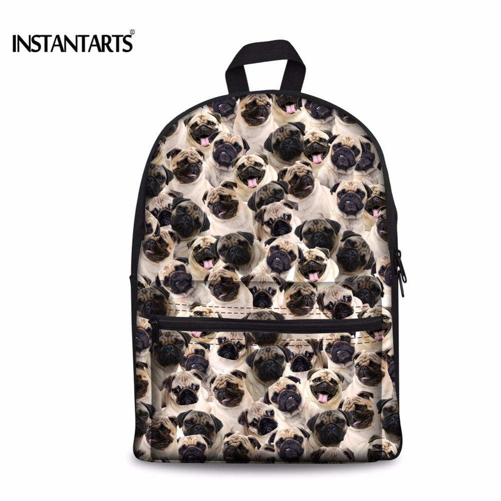 INSTANTARTS 3D Cute Animal Dog Printing Backpacks Women Canvas Children Schoolbag Fashion Book Shoulder Bag For
