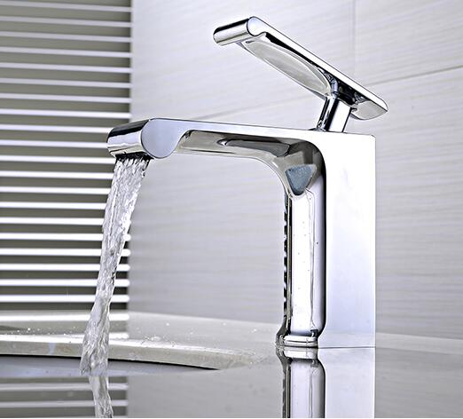 New arrival top high quality water tap brass chrome bathroom single lever hot and cold sink waterfall faucet basin mixer new arrival chrome and black finished bathroom single lever hot and cold sink faucet basin tap mixer