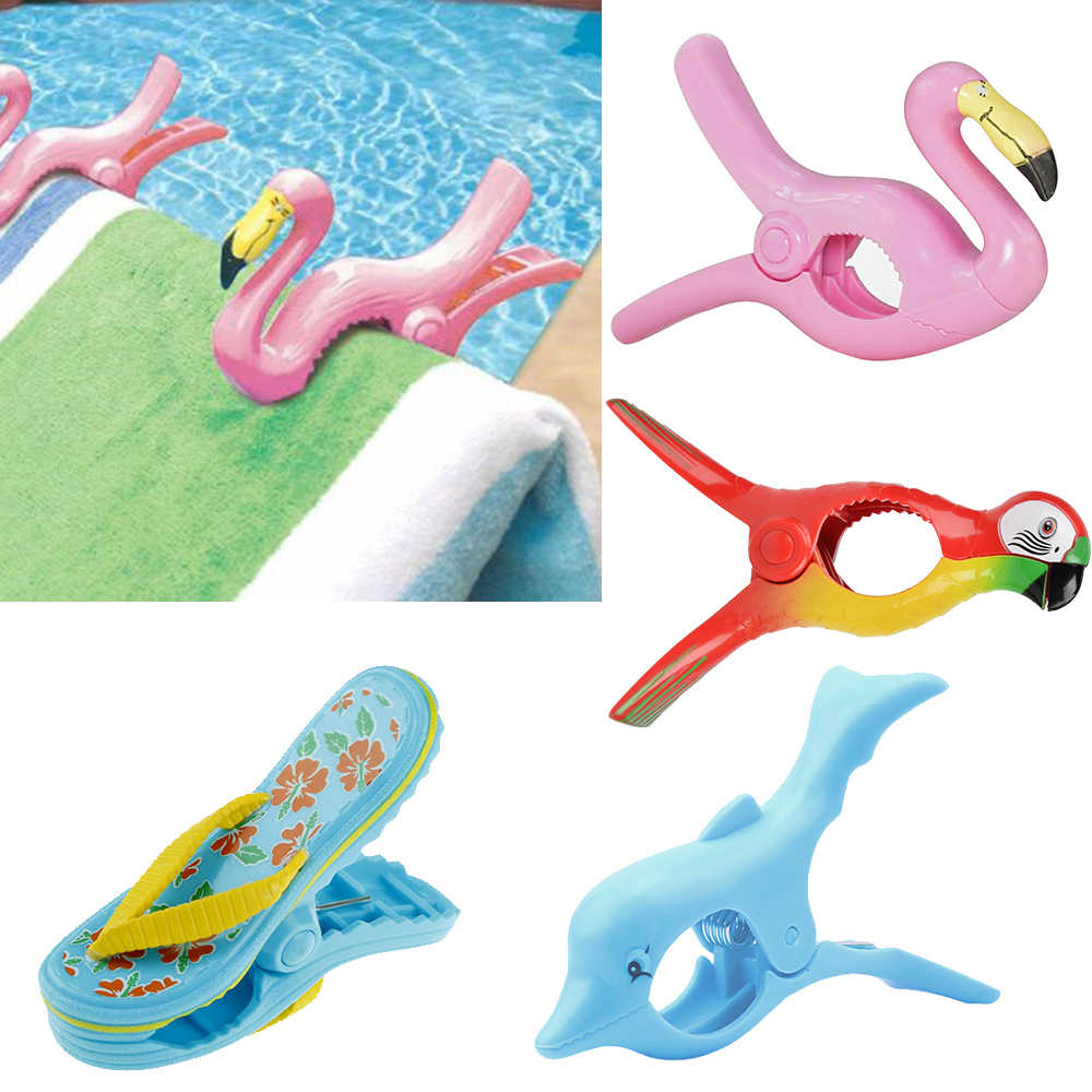 Summer Plastic Color Clips Cute Animal Beach Towel Clamp To Prevent The Wind Clamp Clothes Pegs Drying Racks Retaining Clip