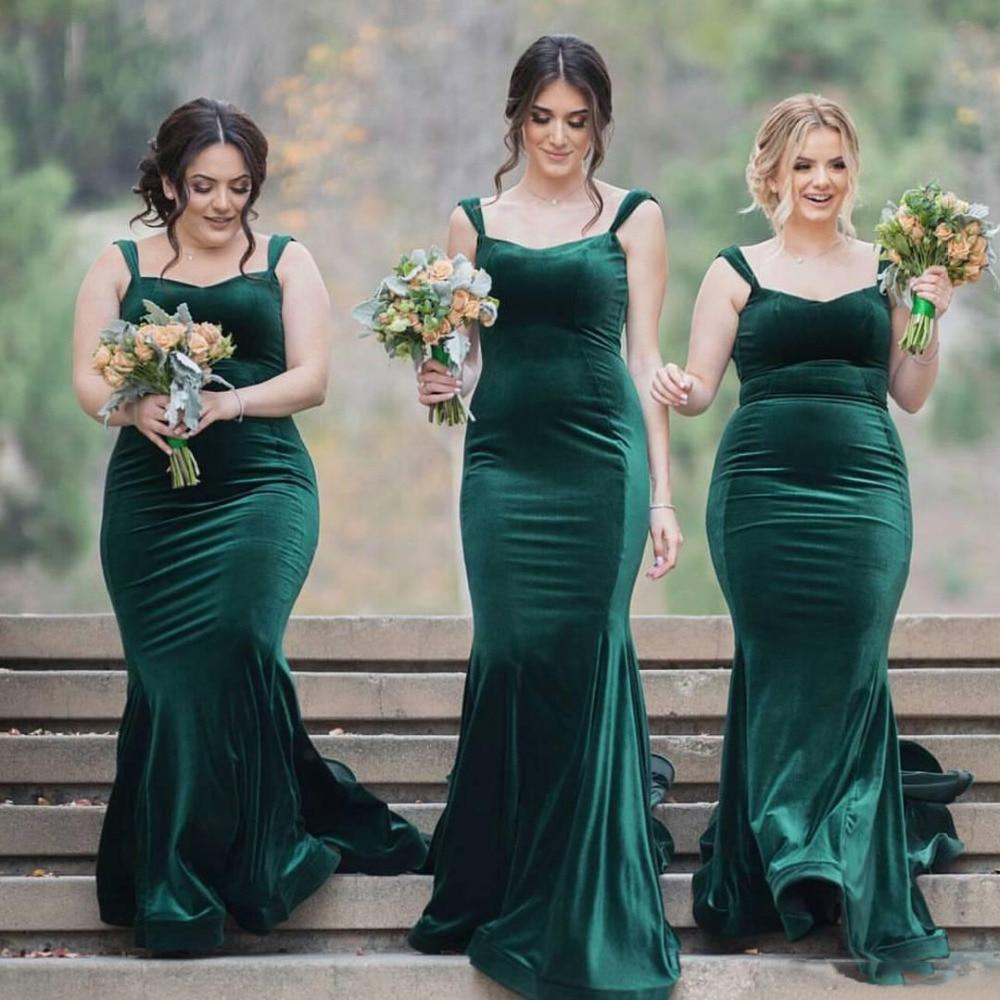Green Long Mermaid Velvet   Bridesmaid     Dresses   With Tank Straps Simple Elegant Formal Country   Bridesmaid   Gowns   Dress   Robes Custom