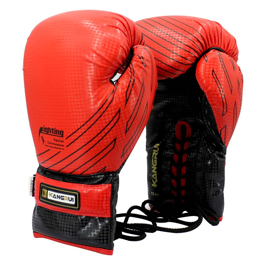 Shiv Naresh Teens Boxing Gloves 12oz: 12oz Tied Style Twins Boxing Gloves Lace Up PU Leather MMA