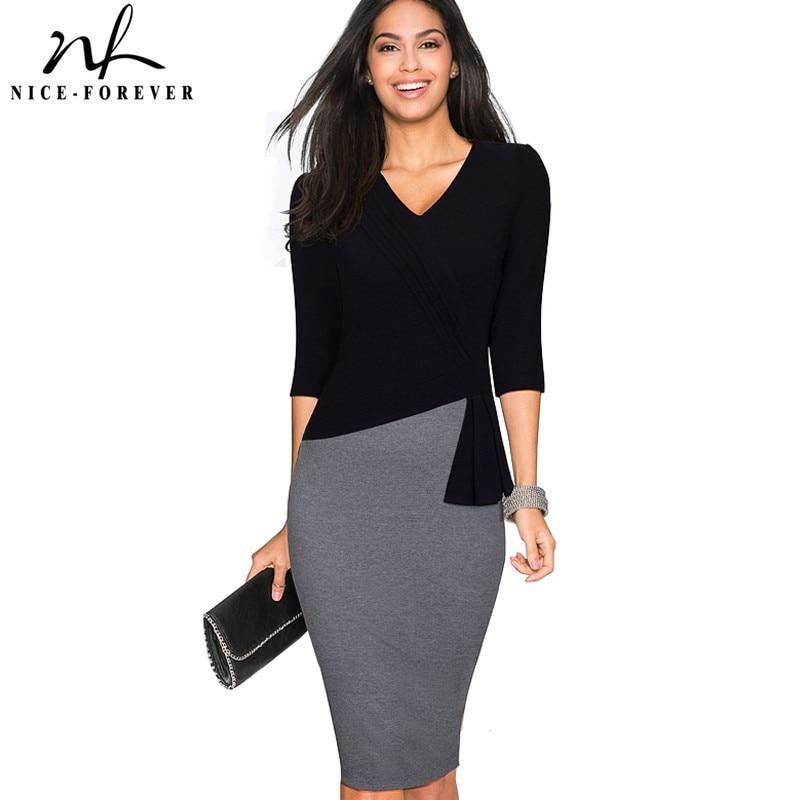 Nice-forever Mature Elegant V-neck vestidos Wiggle Work dress Office Bodycon 3/4 Sleeve Sheath Women Business Dress B333