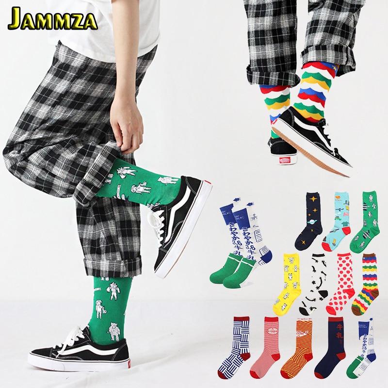 Japan Harajuku More Style Cartoon Women's Socks Cute Colorful Stripe Fashion New Autumn Winter Cotton Mid Socks For Men Gift