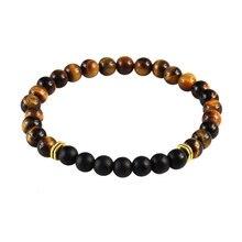 Bracelet shunite œil de tigre, perles, Bracelet de Yoga, extensible, pour hommes