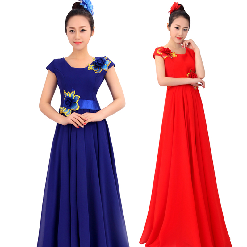 (0178) Chinese folk music chorus costumes stage blue China wind costumes performance clothing red Chinese style