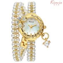 Горячие продажа Марка кимио Luxury женская Жемчужина Горный Хрусталь Браслет часы с 2035 Япония бабочка кулон подруга как Подарок 505