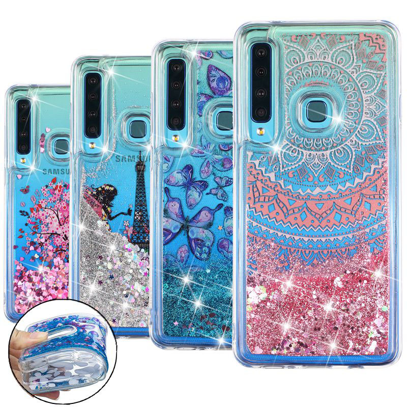 A7 A9 for Samsung Galaxy A7 2018 Case Cover Glitter Liquid quicksand Soft Silicone Phone Case sfor etui Samsung A7 A9 2018 case