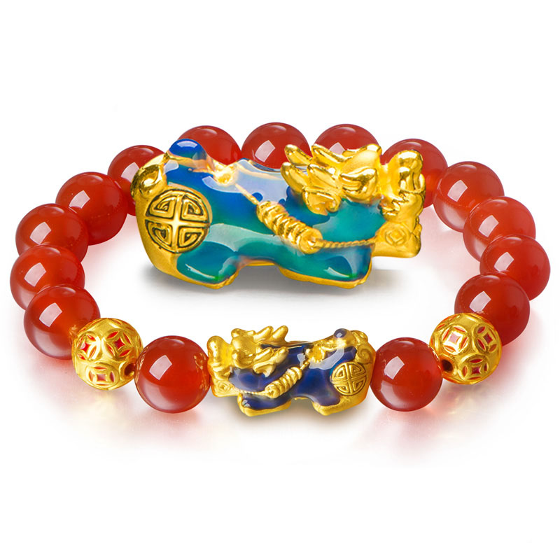 New Arrival Pure 24K Yellow Gold Pixiu Bracelet Red Jadeite 8mm Ball Elastic Line Bracelet