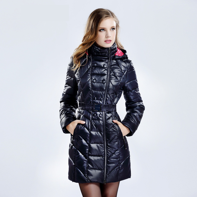 Snowka Para Baixo Parka Casaco de Inverno Mulheres 2016 Famosa Marca Branca Down Jacket Engrossar Mulheres Casaco Quente Com Capuz Outwear Cinto Silm Parka