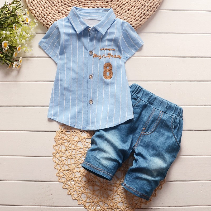BibiCola toddler children summer baby boys clothing sets gentleman clothes suits kids sweatshirt child formal shirt+short jeans