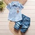 BibiCola малышей детей летние мальчики комплектов одежды джентльмен одежда костюмы дети футболка ребенок формальный рубашка + короткие джинсы