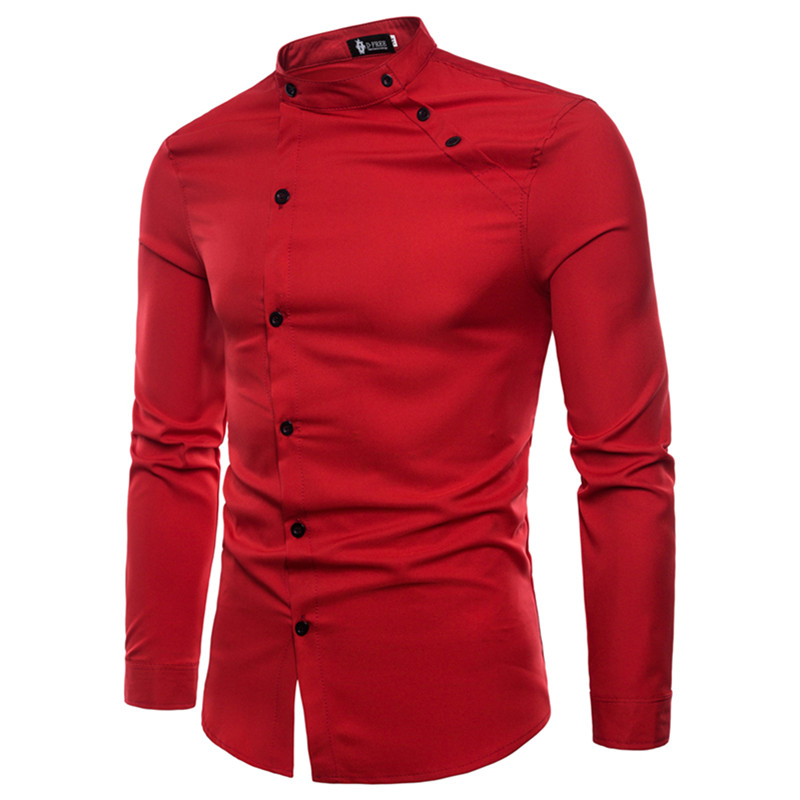 2019 New fashion male autumn High-grade cotton slim Fit Business shirts/men Stand collar Casual long sleeve shirts S-XXL