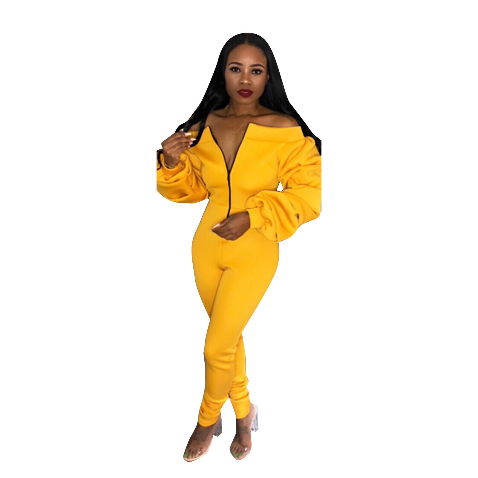 Womens Jumpsuit Yellow Sexy Off Shoulder Jumpsuit Sexy Overalls Club Party Jumpsuits Zipper Fall Solid Rompers