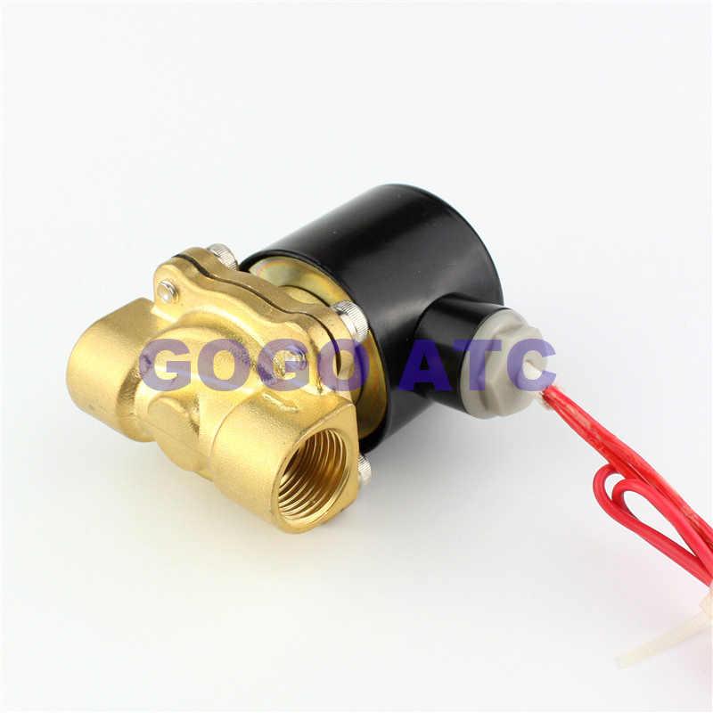 Tout le cuivre 2W électrovanne normalement fermé vanne d'eau vanne d'air 160-15 1/4 3/8 1/2 3/4 AC220V DC24V vanne électromagnétique