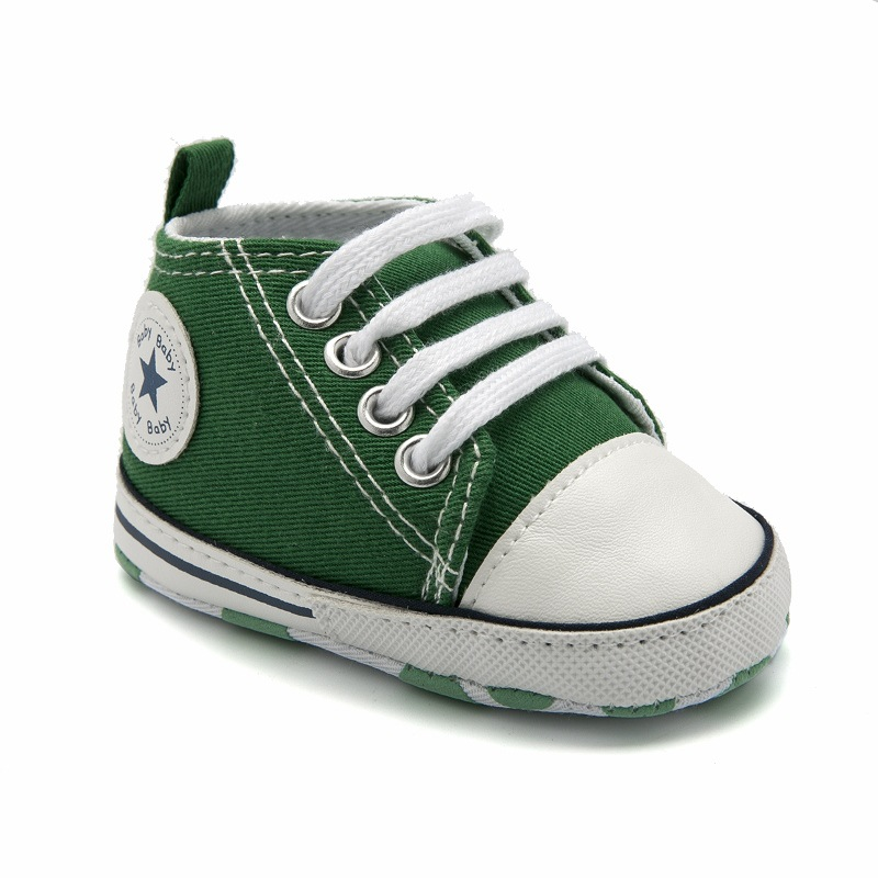 Baby Boy Girl Shoes Spring Autumn Casual Toddler Shoes Infant Soft Sole First Walkers Lace Up Canvas Newborn Shoes Green 0-18M