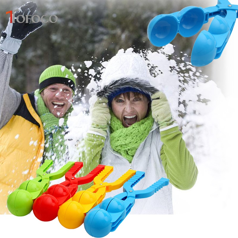TOFOCO New 36cm Thicken Double Snow Ball Maker Winter Round Shaped Snow Scoop Maker Clip Outdoor Sand Clay Mold Tool Kids Toy