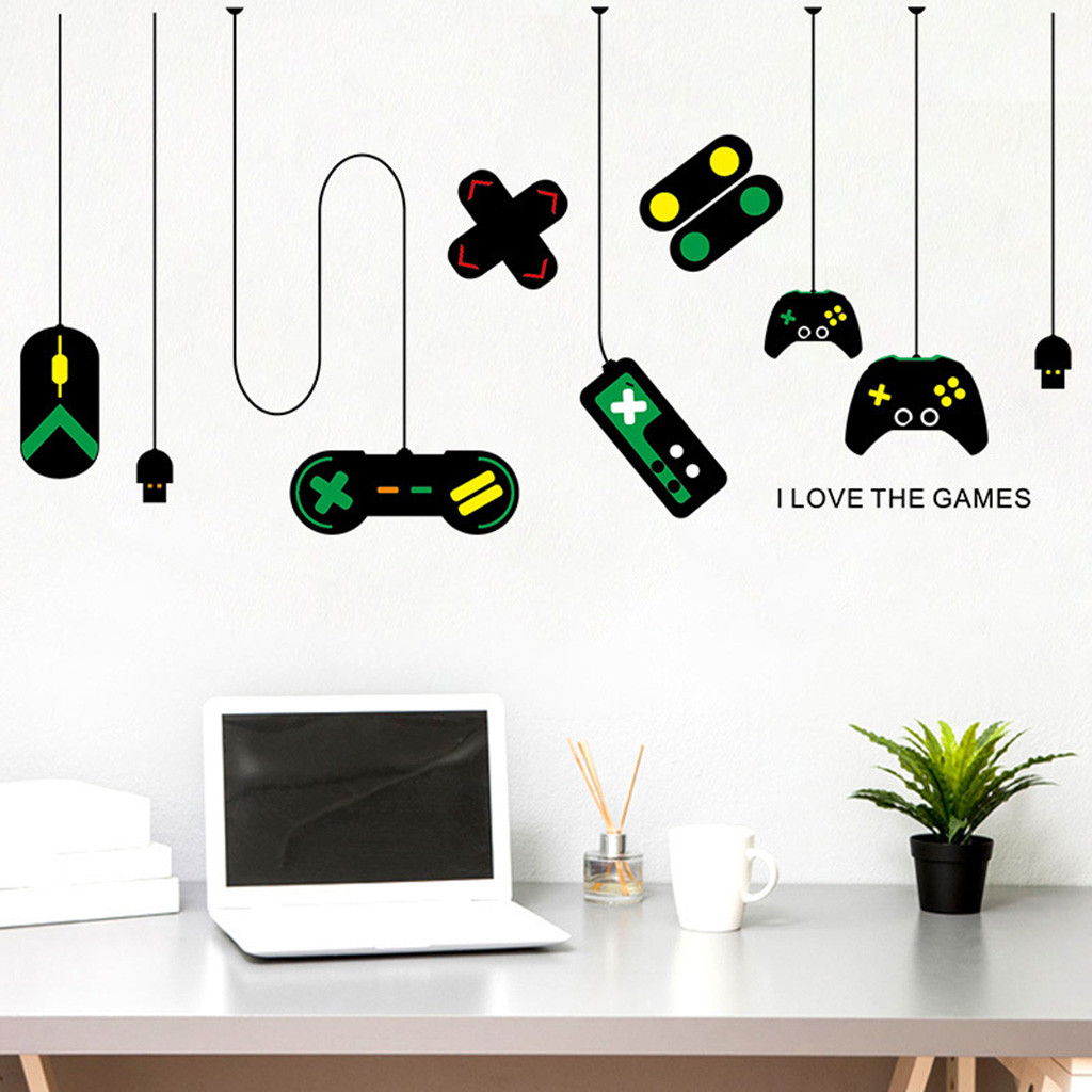 Creative Game console game handle DIY Wall Stickers Vinyl Internet cafe study computer desk Backdrop Home Decor Mural Decal Hot
