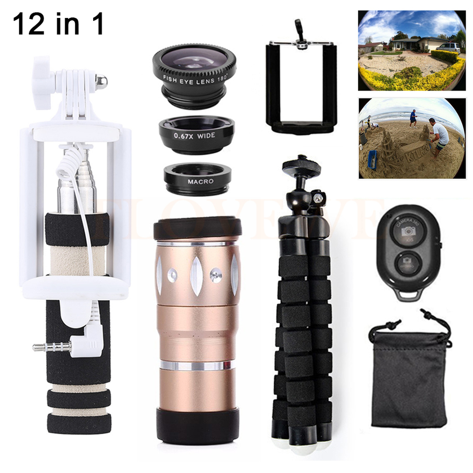 12in1 Phone Lentes Kit 10X Telephoto Zoom Lenses Telescope+Tripod+Wide Angle Macro Fish eye Lens For Huawei P7 P8 P9 P10 Lite
