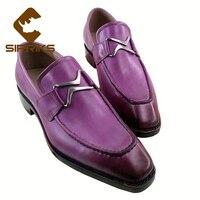 Sipriks Unique Designer Loafers For Men Purple Formal Shoes Italian Handmade Goodyear Welted Shoes Elegant Black