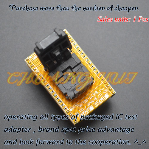 IC TEST QFN8 to DIP8 Programming Adapter WSON8 DFN8 MLF8 ic test socket size=5x6mm qfn 0808 01 adapter qfn8 d8 wson8 dip8 programming adapter dfn5x6a 8 test socket