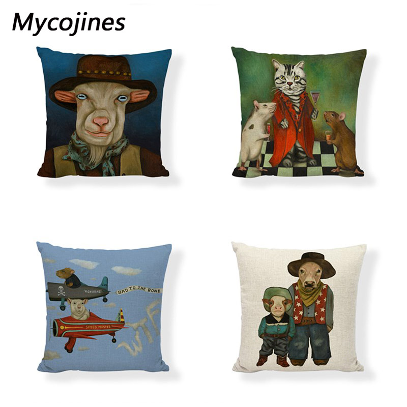 Goat Cattle Cushion Cover Show Patterns Sheep Mouse Cat Cat Giraffe Lion Elephant Tiger Frog Farmhouse Sofa Decor Pillowcover Cushion Cover Cushion Cover Patternfashion Cushion Covers Aliexpress