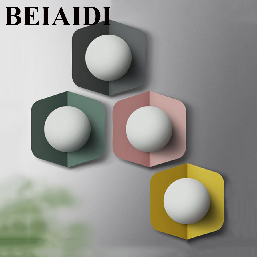 BEIAIDI 5W Nordic LED Wall Lamp Indoor Wall Light For Living Room Bedroom Bedside Home Restaurant Hotel Led Wall Sconces Decor ac85 265v 12w led wall lamps abajur for living room bathroom bedside wall sconces home decor light restaurant luminaire lustre