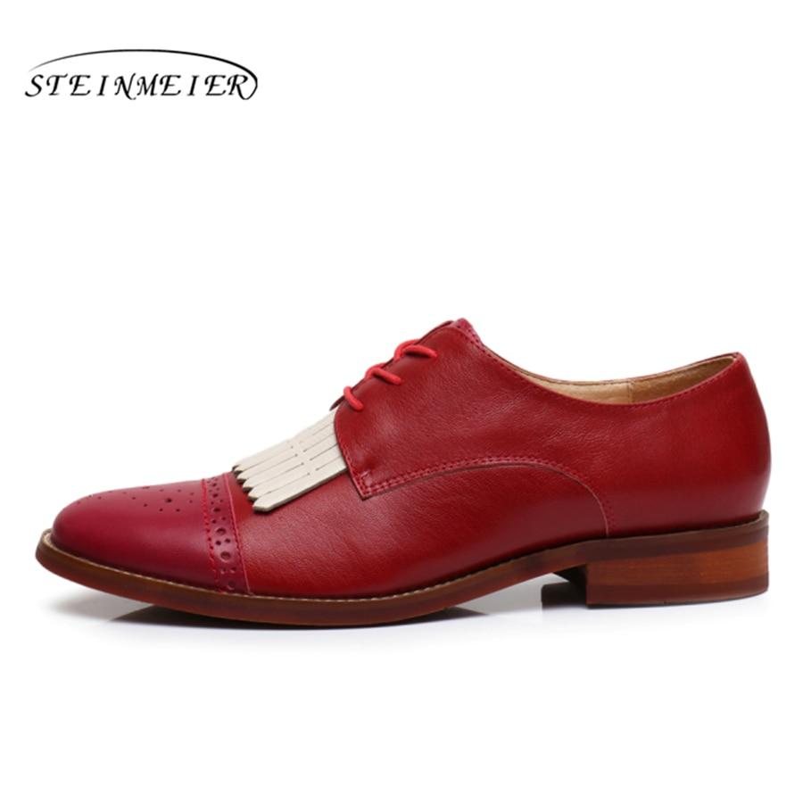 Schuhe Halbschuhe braun f Wohnungen Leder Yinzo Damen Schaffell rot Vintage Designer 100echtes rosa handgefertigt qVLSUMGjzp