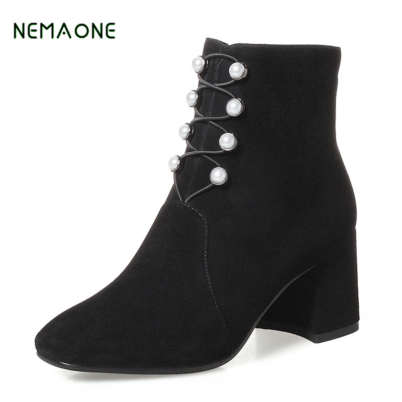 NEMAONE NEW square High Heel Women Ankle Boots Designer Genuine Leather Brand Winter Autumn Shoes Woman US 9 10 women autumn winter boots 2016 new fashion genuine leather shoes woman ankle boots low heel square toe black shoes riding boots