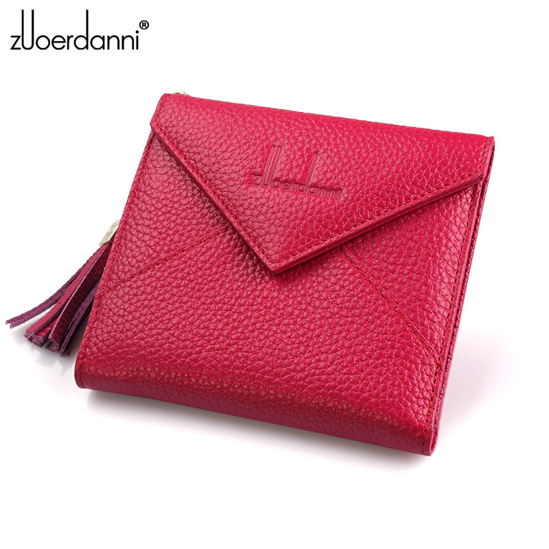 Fashion slim Women Genuine Leather Purse and Wallet Tassel Female Card Holder Small Ladies Zip  Coin Purses Mini Money Bags