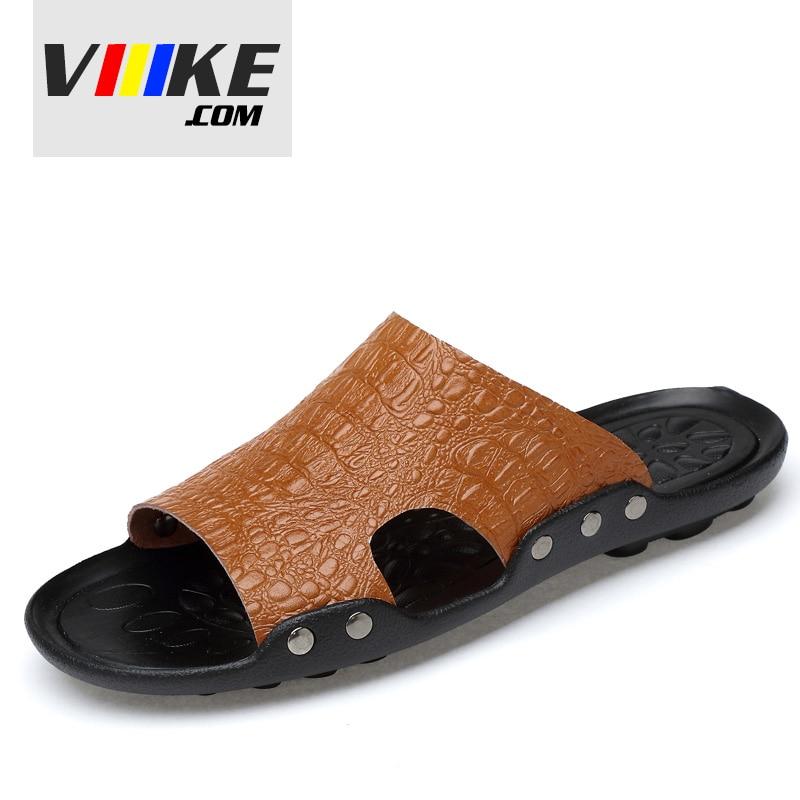 viiikecom Summer Shoes Mens Slippers Beach Sandal Fashion Men Men Slippers Summer Shoes for Man Beach Slippers Genuine Leather