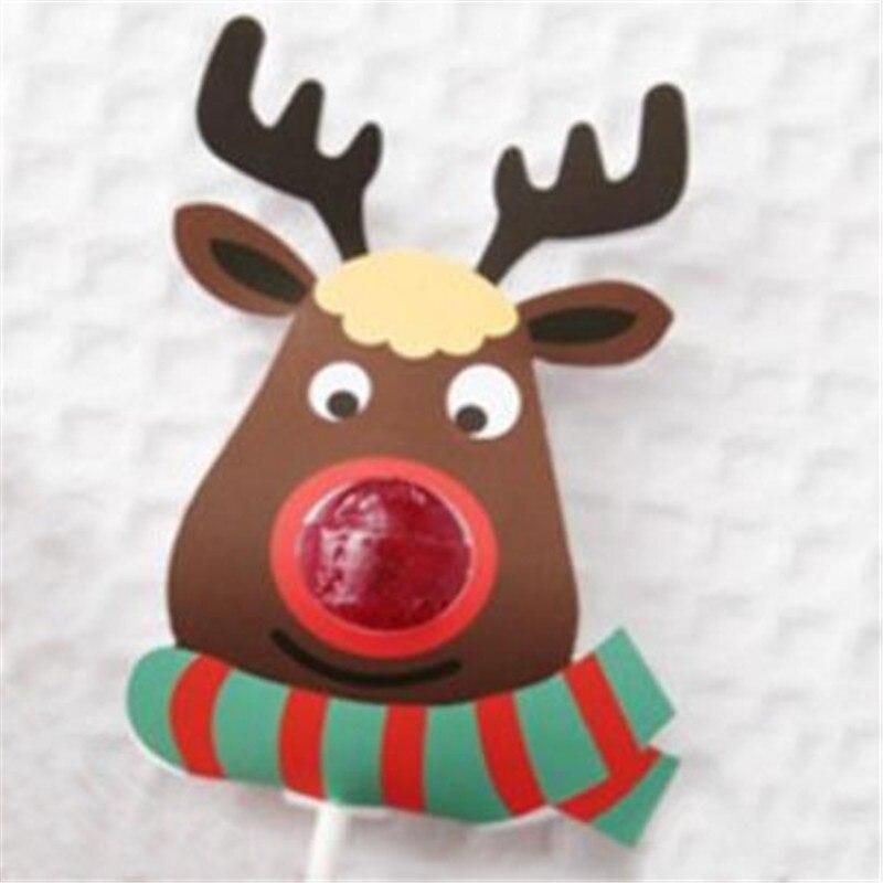 25 Pcs/Set New Year Novelty Toy Lovely Elk Lollipop Xmas Paper Holder Festival Christmas Gift For Children