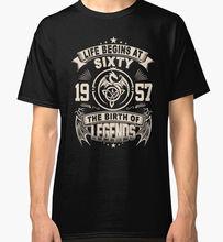 Funny T Shirt Slogans Men'S Crew Neck Regular Short 60Th Birthday Gifts1957 The Birth Of Legends Tee Shirt